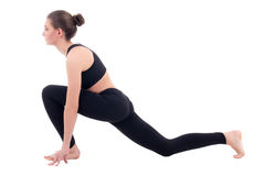 Beautiful woman doing stretching exercises isolated on white Royalty Free Stock Photo