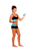 Beautiful woman doing weights to tone her muscles. Isolated on a white background stock photos