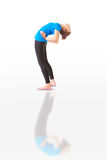 Beautiful woman doing yoga anuvittasana on white background Stock Photography