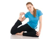 The beautiful woman doing yoga exercise isolated Royalty Free Stock Photography