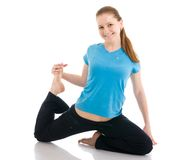 The beautiful woman doing yoga exercise isolated Stock Photography