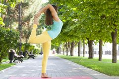 Beautiful Woman doing Yoga Exercises in the Park stock photography