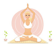 Beautiful woman doing yoga exercises Stock Photo
