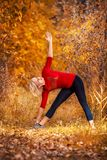 Beautiful woman doing yoga outdoors On yellow grass Royalty Free Stock Images
