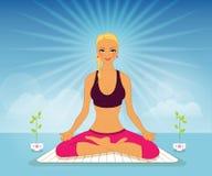 Beautiful woman doing yoga practice Stock Photography