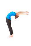 Beautiful woman doing yoga on white background Royalty Free Stock Photography