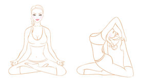 Beautiful woman doing youga exercises Stock Images