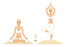 Beautiful woman doing youga exercises Stock Image