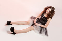 Beautiful woman in doll style Stock Photos