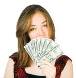 Beautiful woman with dollars on her hand Stock Photo