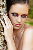 Beautiful woman with dramatic makeup Royalty Free Stock Photo