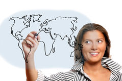 Beautiful woman drawing world map Royalty Free Stock Photos