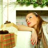 Beautiful woman dreaming, Christmas Stock Photography