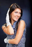 Beautiful woman in dress and gloves Royalty Free Stock Photo