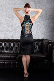 Beautiful woman in dress with lacing poses Royalty Free Stock Image