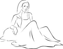 Beautiful Woman in dress sitting on the ground - vector black outline Stock Images