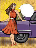 Beautiful woman in dress stay next to car. Comic vector illustration in pop art retro style. Royalty Free Stock Images