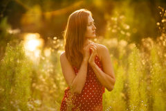 Beautiful woman in a dress of wildflowers Stock Photos