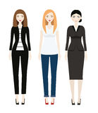 Beautiful Woman dresscode. Smiling Female in casual and business clothes Stock Photo