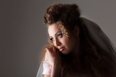 Beautiful woman dressed as a bride Royalty Free Stock Photography