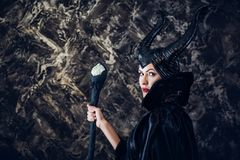 Beautiful woman dressed as Maleficent Stock Photos
