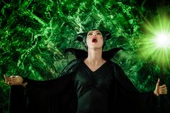 Beautiful woman dressed as Maleficent Stock Photography