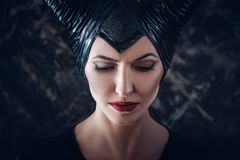 Beautiful woman dressed as Maleficent Royalty Free Stock Images