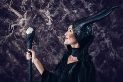 Beautiful woman dressed as Maleficent Stock Photo