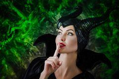 Beautiful woman dressed as Maleficent Royalty Free Stock Photography