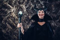 Beautiful woman dressed as Maleficent Stock Images