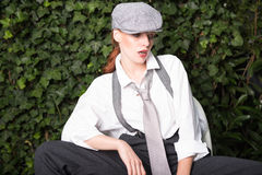 Beautiful woman dressed as a man in twenties style Stock Images