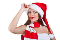 A beautiful woman dressed as santa Royalty Free Stock Photos