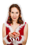 Beautiful woman dressed as Santa Stock Images