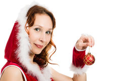 Beautiful woman dressed as Santa Stock Photo