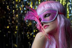Beautiful woman dressed up for carnival stock images