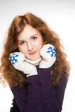 Beautiful  woman dressed in winter clothes smiling - studio shots Stock Photo