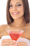 Beautiful woman with a drink Stock Photography