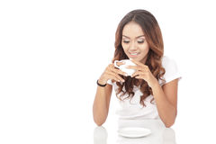 Beautiful woman drink a cup of coffee Stock Photography