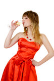 Beautiful woman drinking champagne Stock Photos