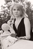 Beautiful woman drinking champagne from wineglass Royalty Free Stock Image