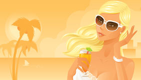 Beautiful woman drinking cocktail. On beach Royalty Free Stock Photo