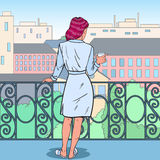 Beautiful Woman Drinking Coffee at the Balcony. Morning in the City. Pop Art illustration. Beautiful Woman Drinking Coffee at the Balcony. Morning in the City Royalty Free Stock Image