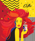 Beautiful Fashion Woman drinking coffee cup Pop Art Poster stock illustration
