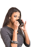 Beautiful woman drinking coffee frommug Royalty Free Stock Image
