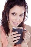 Beautiful woman drinking coffee with milk foam Royalty Free Stock Photo