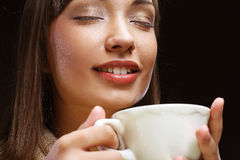 Beautiful woman drinking coffee Royalty Free Stock Images