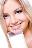 Beautiful woman drinking milk Royalty Free Stock Images