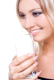Beautiful woman drinking milk Stock Images