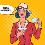 Beautiful Woman Drinking Morning Tea in Cafe. Coffee Break. Pop Art illustration. Beautiful Woman Drinking Morning Tea in Cafe. Coffee Break. Pop Art Vector Stock Photos