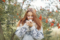 Beautiful woman drinking tea in the forest Royalty Free Stock Image